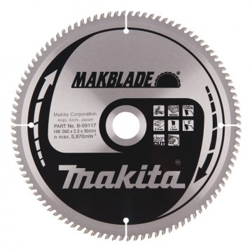 Makita B-09117 260mm x 30mm x 100 tenner sagblad for trevirke
